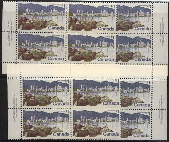 Canada - $1 Vancouver Plate Blocks mint VF-NH #600