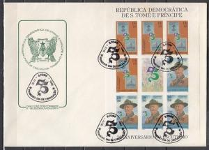 St.Thomas, Scott cat. 658-659. Scout, IMPERF Sheet with Label. First day cover.