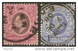 East Africa & Uganda 1907 King Edward VII Scott 35-36 used