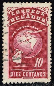 Ecuador #RA74 Globe; Ship and Plane; Used (0.25)