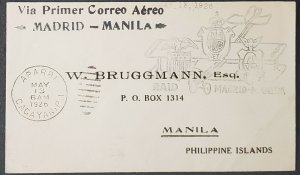 Philippines 1926 First Flight Aparri Manila Cover