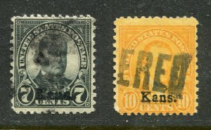 1929 issue #665, 668,  KANS OVPTS ⭐⭐⭐⭐⭐⭐