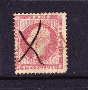 NORWAY   1856  8sk  DULL LAKE PEN CANCEL SG 11 Sc 5