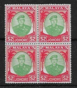 MALAYA JOHORE SG146 1949 $2 GREEN & SCARLET BLOCK OF 4 MNH