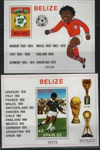 BELIZE  607-608, SOUVENIR SHEETS, HINGED,1981 World cup soccer