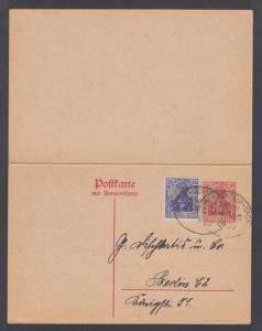 Germany H&G 108 used 1920 uprated 10pf carmine double card with Railway Cancel