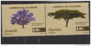 O) 2011 ECUADOR, TREE, ALGARROBO, JACARANDA, INTERNATIONAL YEAR OF FORESTS, SET