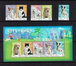 Australia: 2004 Cats & Dogs,  MNH set + miniature sheet