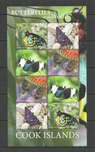 R0161 2020 COOK ISLANDS BUTTERFLIES OF THE WORLD FLORA & FAUNA SH MNH