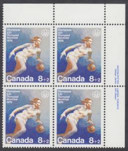 Canada - #B10 Semi Postal Olympic Team Sports Plate Block - MNH
