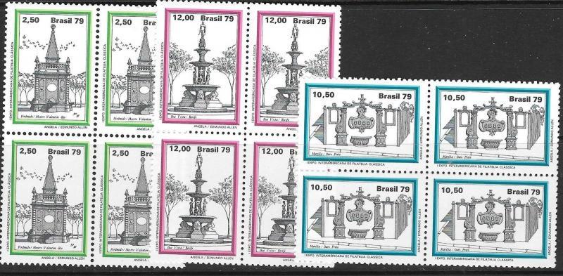 BRAZIL SG1788/90 1979 BRASILIANA 79 (4th ISSUE) BLOCKS OF 4 MNH