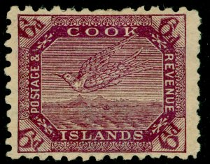 COOK ISLANDS SG18, 6d purple/thin toned, M MINT. Cat £42.