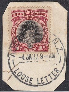 COOK IS USED IN NEW ZEALAND 1937 AUCKLAND LOOSE LETTER cds on piece.........C621