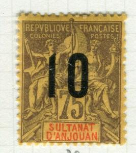 FRENCH COLONIES; ANJOUAN 1912 surcharged Tablet issue Mint hinged 10/75c. value