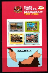 MALAYSIA SGMS246a 1982 25th ANNIV OF INDEPENDENCE WITHOUT SILVER FRAME MNH