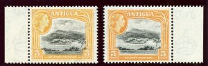Antigua 1961 QEII 3c in two listed shades superb MNH. SG 123, 123a.