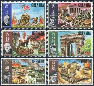 Grenada 373-378,hinged.Mi 369-374. WW II,1970.Roosevelt,Zhukov,Churchill,