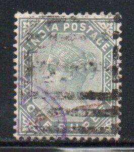 India Sc 46 1882 1 rupee gray  Victoria stamp used