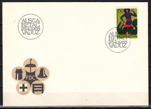 Liechtenstein, Scott cat. 434. St. George, Scout Patron Saint. First day cover.^