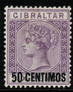 GIBRALTAR SG20a 1889 50c on 6d BRIGHT LILAC 5 WITH SHORT FOOT MTD MINT