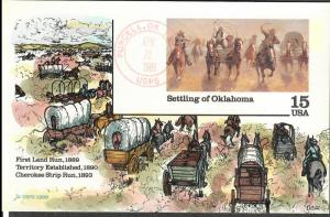 US Collins FDC SC#UX130 Settling Of Oklahoma