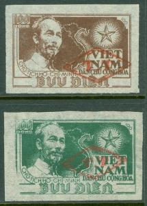 EDW1949SELL : VIETNAM NORTH Very Scarce set of 2 values Ovpt with Diamond & 'TT'