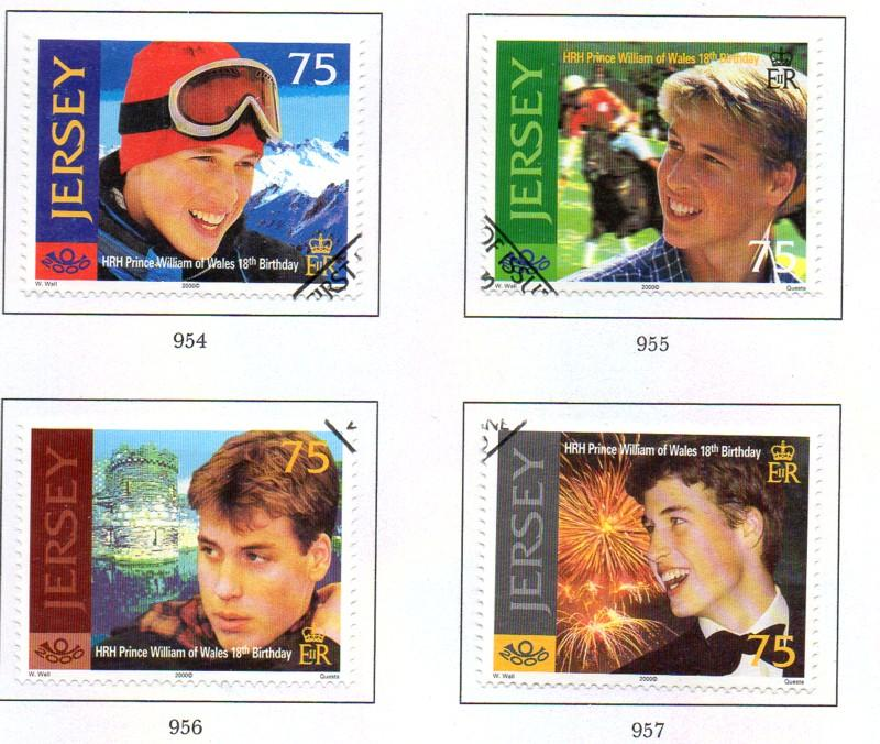 Jersey  Sc 958-61 2000 Prince William 18th Birthday stamp set used