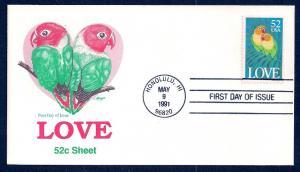 UNITED STATES FDC 52¢ LOVE 1991 Artmaster