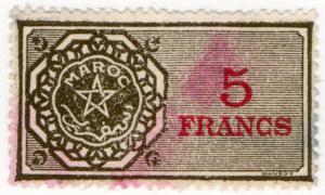 (I.B) France Colonial Revenue : Morocco Duty 5Fr