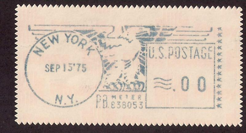 Meter Stamp NYC .00 denom proof 2 test machine rate change