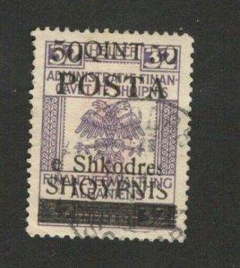 ALBANIA  AUSTRIA  - USED OVERPRINT STAMP - 50 qint / 32 helera - 1919.
