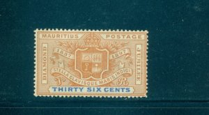 Mauritius - Sc# 112. 1898 36 cent. Colony Seal. Mint LH. $13.50.