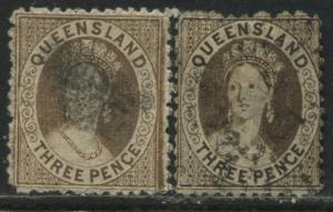 Queensland QV 1876 3d brown 2 distinct shades used