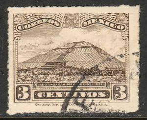 MEXICO 635, 3cents PYRAMID OF THE SUN Unwmk USED. F-VF. (385)
