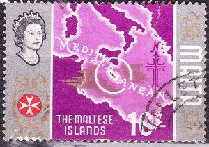 MALTA 1965 10/- Multicolored Maltese Islands SG347 FU