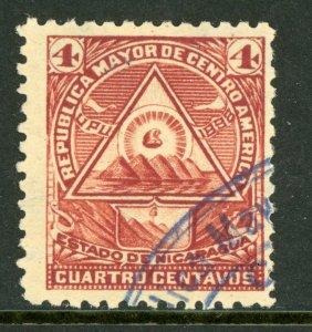 Nicaragua 1896 Seebeck 4¢ Coat of Arms Wmk VFU B887   ⭐⭐⭐⭐⭐⭐