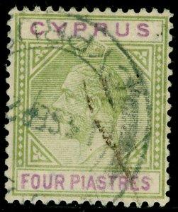 CYPRUS SG95, 4pi olive-green & purple, USED. Cat £25.