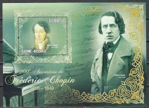 Guinea Bissau, 2010 issue. Composer Frederick Chopin s/sheet.