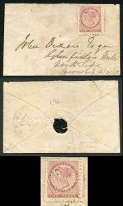 PRINCE EDWARD ISLAND SG1 1861 2d rose perf 9 a large example on a cover