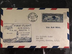 1930 Miami Fl USA  First Flight cover FFC to Kingston Jamaica FAM 5 1