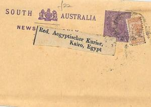 J293 1890s SOUTH AUSTRALIA Stationery Wrapper Uprated Halfpenny EGYPT Cairo