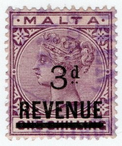 (I.B) Malta Revenue : Duty Stamp 3d on 1/- OP