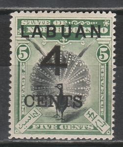 LABUAN 1899 LARGE 4C OVERPRINTED PEACOCK 5C