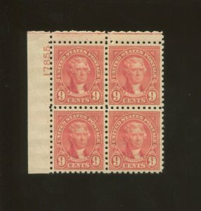 United States Postage Stamp #590 MNH VF Plate No. 17855 Block of 4