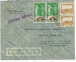 Bolivia 1944 Cochabamba cancel on airmail cover to Argentina, censored