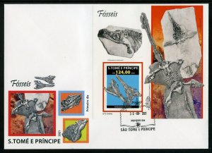SAO TOME 2021 FOSSILS SOUVENIR SHEET FIRST DAY COVER