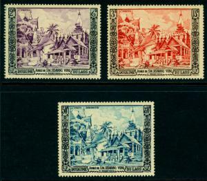 LAOS 1954  Laotian Temples set  Scott # 25-26 + C13 mint MNH