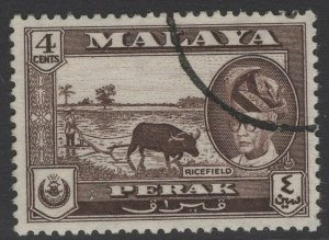 MALAYA PERAK SG152 1957 4c SEPIA FINE USED