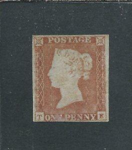 GB-QV 1841 1d PALE RED-BROWN TE UNPLATED LMM SG 9 CAT £675