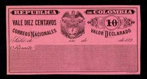 COLOMBIA 1896 CORREOS NACIONALES VALOR DECLARADO 10¢ UNUSED MH